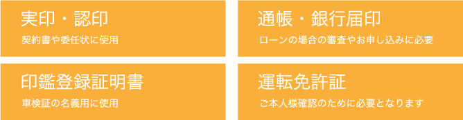 実印・認印/通帳・銀行届印/印鑑登録証明書/運転免許証